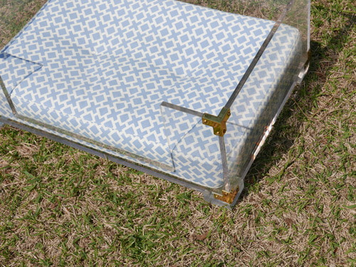 LUCITE & BRASS DOG BED : JONATHAN ADLER