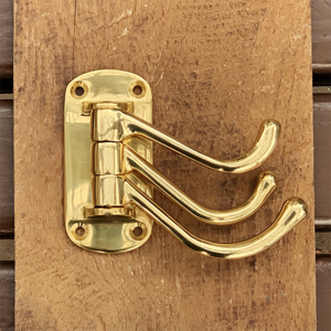 Solid Brass Triple Swivel Hook in Polished Brass